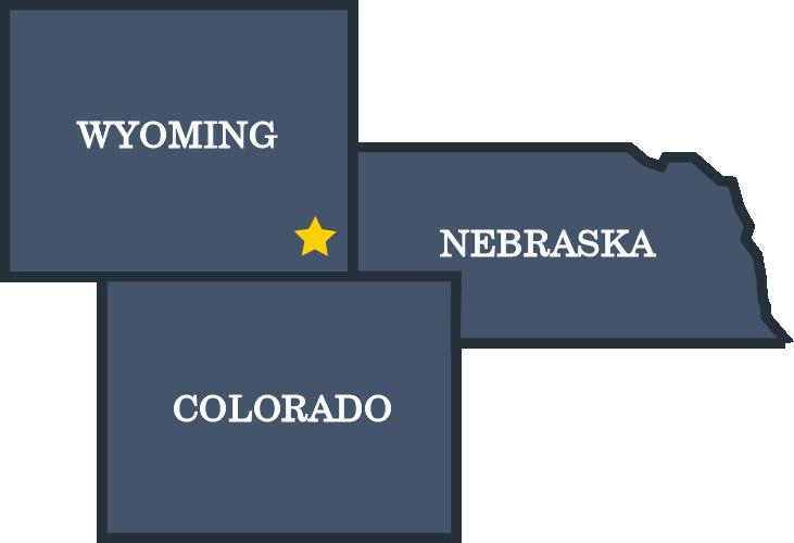 Map of Wyoming, Nebraska, and Colorado